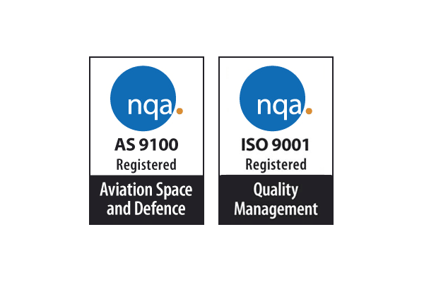 nqa AS 9100 Registered: Aviation Space & Defence; nqa ISO 9001 Registered: Quality Managment